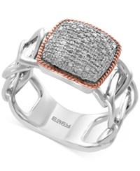 Effy Diamond Pave Ring 1 4 Ct. T.W. In Sterling Silver And 14K Rose Gold Two Tone