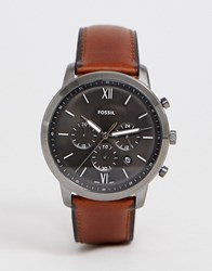 Fossil Fs5512 Neutra Chronograph Leather Watch 44Mm Brown