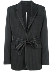 Helmut Lang Tonal Striped Blazer Black