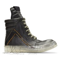 Rick Owens Black Bluejay Geobasket High Top Sneakers