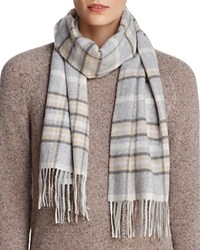 Bloomingdale's C By Multi Plaid Cashmere Scarf 100 Exclusive Light Grey