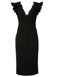 Rebecca Taylor Ruffled Sleeves V Neck Dress Black