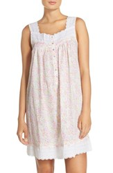 Women's Eileen West Print Cotton Nightgown White Ground With Floral Multi