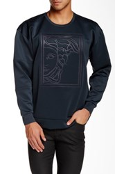 Versace Crew Neck Embossed Logo Sweater Gray