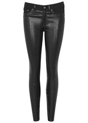 Rag And Bone Hyde Leather Front Skinny Jeans Black
