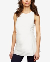 A Pea In The Pod Maternity Sleeveless Peplum Top White