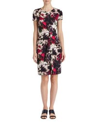Lafayette 148 New York Floral Print Short Sleeve Pleated Dress Black