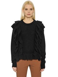 Designers Remix Mohair Wool Knit Sweater With Ruffles