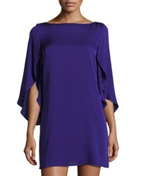Milly Butterfly Sleeve Crepe Shift Dress Purple