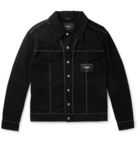 Fendi Piped Denim Jacket Black