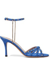 Valentino Chain Trimmed Studded Suede Sandals Bright Blue