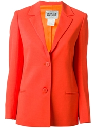 Versace Vintage Fitted Blazer Yellow And Orange