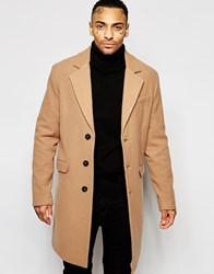 Asos Wool Rich Overcoat In Camel