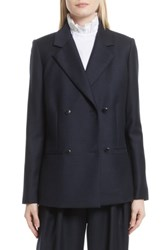 Frame Women's Double Breasted Wool Jacket Navy