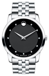 Movado 'Museum Classic' Diamond Two Tone Bracelet Watch 40Mm Silver Black
