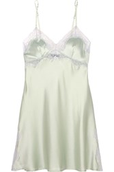 Elle Macpherson Body Lace Trimmed Stretch Silk Satin Chemise Mint