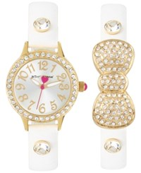 Betsey Johnson Women's White Imitation Leather Strap Watch And Bracelet Set 30Mm Bj00536 37 Gold