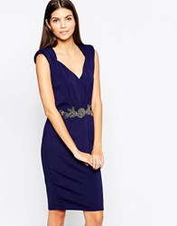 Little Mistress Bodycon Midi Dress With Embellished Waistband V Neck Navy