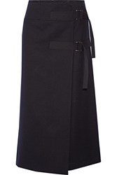 Sacai Melton Wool Wrap Skirt Navy