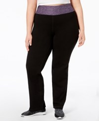 Ideology Plus Size Rapidry Open Leg Yoga Pants Royal Eggplant