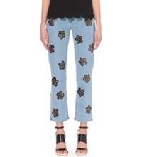 Victoria Beckham Straight Cropped High Rise Jeans Aged Blue Flower