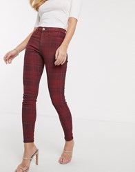 River Island Molly Skinny Jeans In Red Check Blue