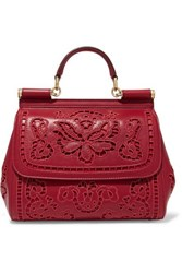 Dolce And Gabbana Sicily Medium Cutout Embroidered Leather Tote One Size