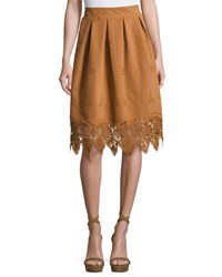Moon River Crochet Hem A Line Skirt Bronze