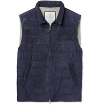 Brunello Cucinelli Quilted Suede Down Gilet Navy
