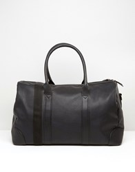 Asos Leather Holdall In Black Black