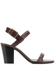 Saint Laurent Oak 75 Sandals Brown