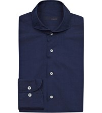 Lardini Regular Fit Denim Chambray Shirt Navy