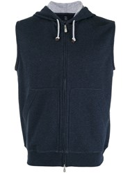 Brunello Cucinelli Zip Up Sleeveless Hoodie Blue