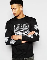Pink Dolphin Long Sleeve T Shirt With Wave N Roses Print Black