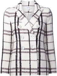 Derek Lam 10 Crosby Peaked Lapels Checked Jacket White