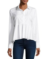 Milly Peplum Solid Poplin Shirt White