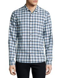 Atm Anthony Thomas Melillo Plaid Flannel Long Sleeve Sport Shirt Gray Blue