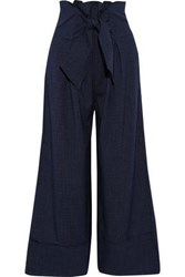 Paper London Woman Twin Tie Front Checked Crepe Wide Leg Pants Midnight Blue