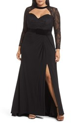 Mac Duggal Plus Size Lace Sleeve Cutout Gown Black
