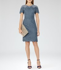 Reiss Floran Womens Mesh And Lace Dress In Blue