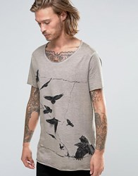 Asos Longline T Shirt With Raw Scoop Neck And Bird Print With Pigment Dye Tawny Beige
