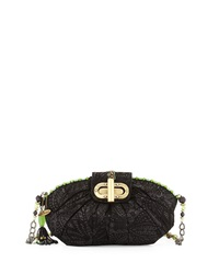 Mary Frances Beaded Leather Dynasty Crossbody Bag Black Lime