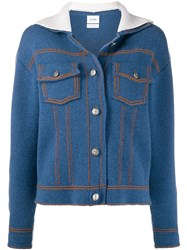 Barrie Knitted Buttoned Jacket Blue