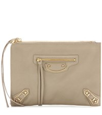 Balenciaga Classic Pouch Metallic Edge Leather Clutch Beige