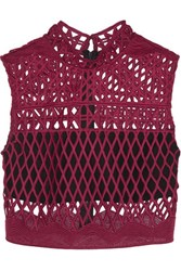 Self Portrait Cropped Guipure Lace Top Burgundy