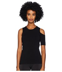 Cushnie Et Ochs Crew Neck Knit Top With Single Cold Shoulder And S Black Swimwear