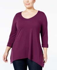 Ny Collection Plus Size Roll Tab Handkerchief Hem Top Medium Purple