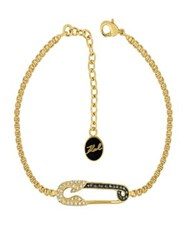 Karl Lagerfeld Safety Pin Crystal Bracelet Gold