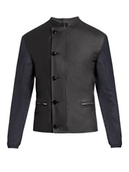 Helbers Leather And Nylon Biker Jacket Navy