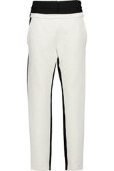 Proenza Schouler Two Tone Double Faced Wool Blend Straight Leg Pants Cream